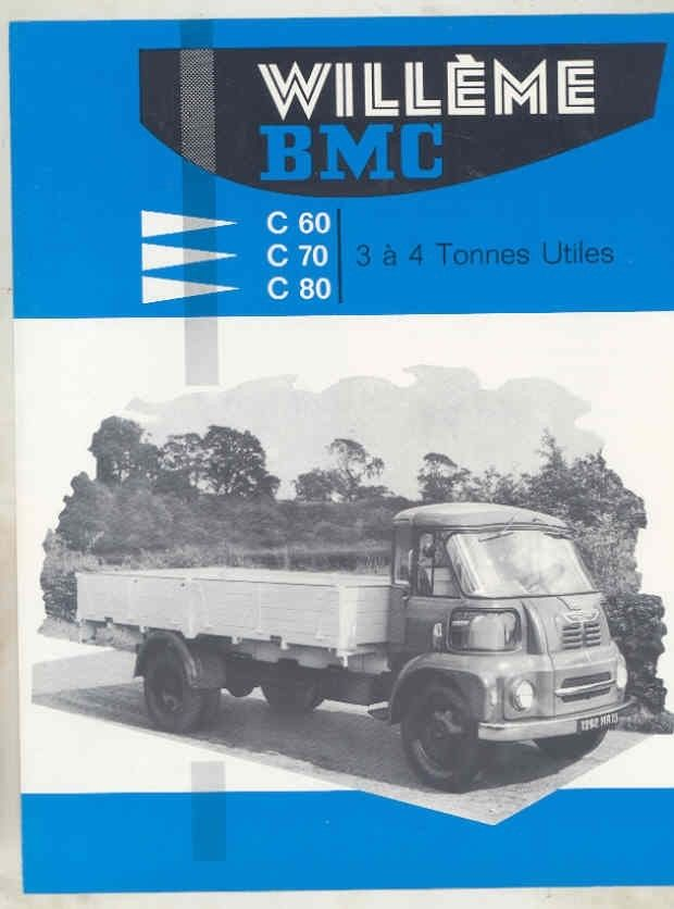 1962 Willeme BMC C60 C70 C80 3-4 Ton Diesel Truck Brochure French wv8238