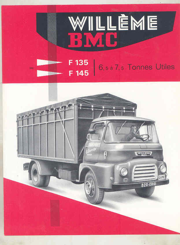 1962 Willeme BMC F135 F145 6.5-7.5 Ton Truck Brochure French wv8235 a