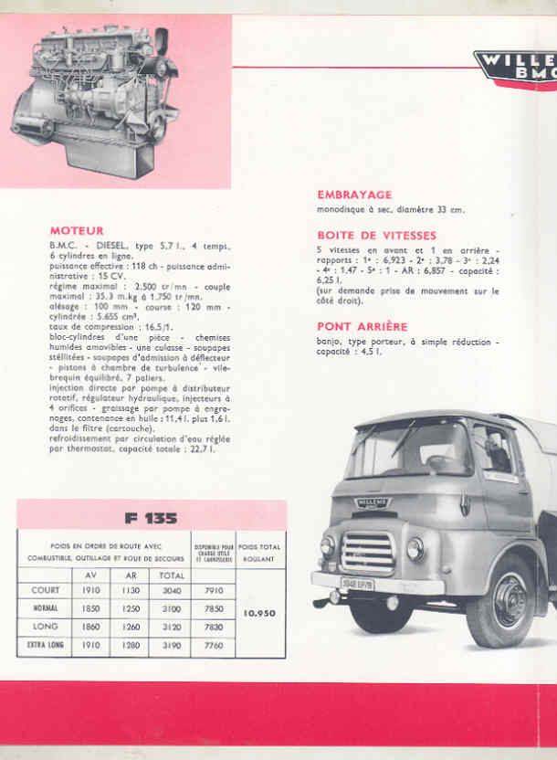 1962 Willeme BMC F135 F145 6.5-7.5 Ton Truck Brochure French wv8235 b