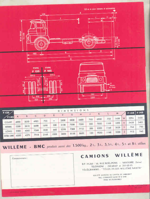 1962 Willeme BMC F135 F145 6.5-7.5 Ton Truck Brochure French wv8235 d