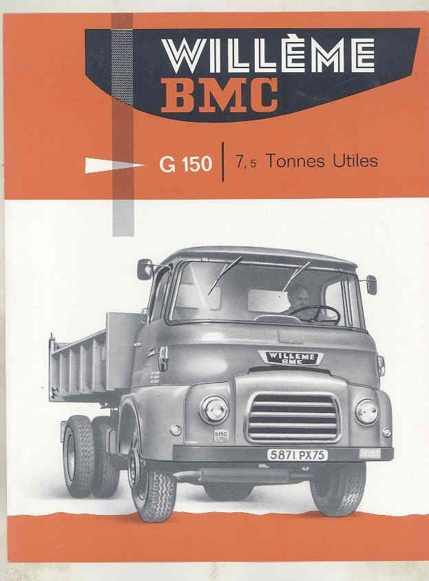 1962 Willeme BMC G150 7.5 Ton Dump Truck Brochure French wv8236