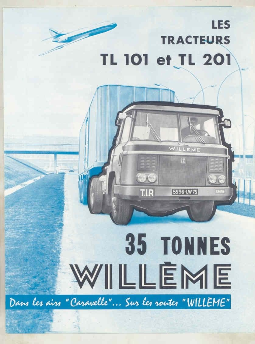 1962 Willeme TL101 TL201 35 Ton Tractor Trailer Truck Brochure French wv6644