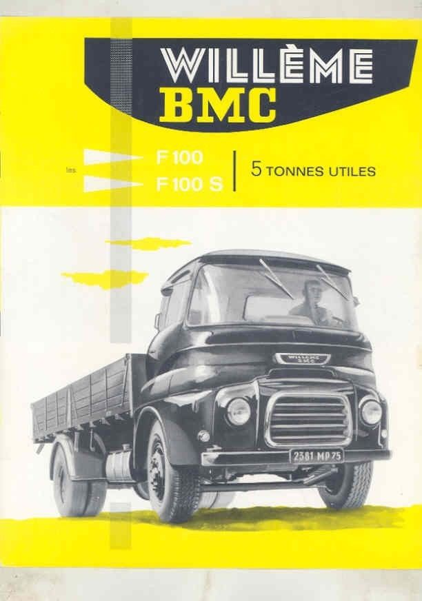 1963 BMC Willeme F100 F100S 5 Ton Truck Brochure French wv7899