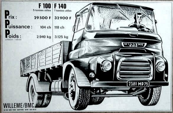 1965 Willeme BMC Camion F 100 5 tonnes - Pub papier de 1965