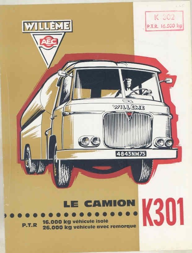 1965 Willeme K301 8-13 Ton Diesel Truck Brochure French wv8231