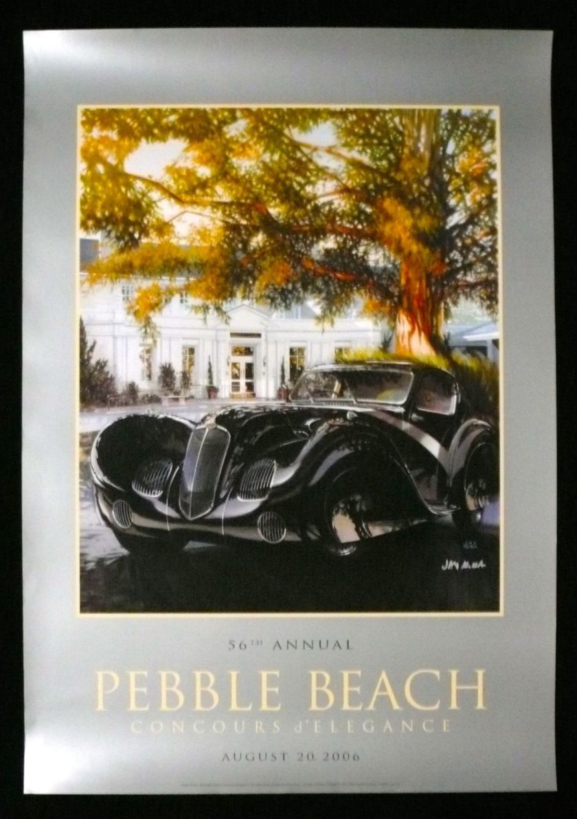 2006 SIGNED Pebble Beach Concours Poster 1936 DELAHAYE 135 Comp Sport Coupe KOKA a