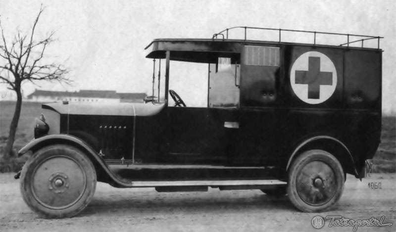1917 Tatra 20 Nesselsdorfer Wagenbau-Fabriksgesellschaft type N or later known as Tatra 20 as an ambulance