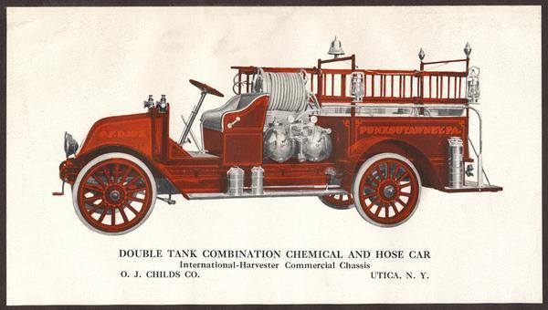 1918 International Fire Truck Advertising Card