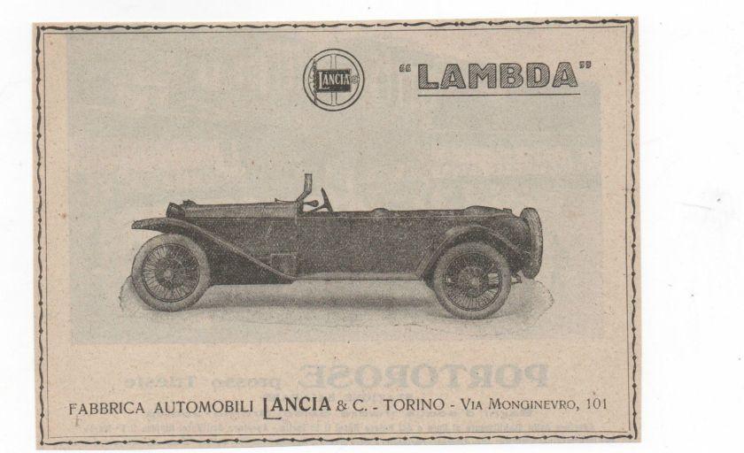 1923 AUTO LANCIA LAMBDA CAR advert werbung publicitè reklame