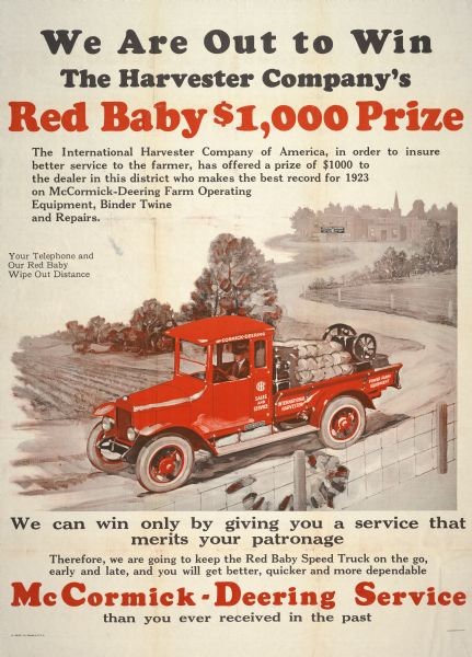 1923 International Red Baby Truck Advertising Poster