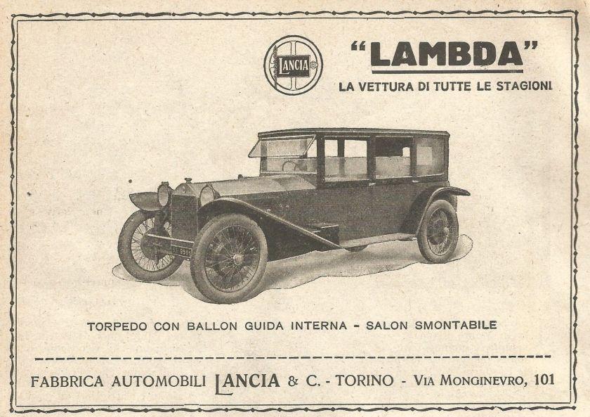 1923 Lancia LAMBDA Torpedo - Pubblicità del 1923 - Vintage advertising