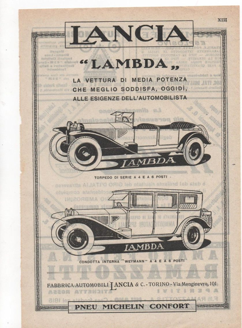1923 Pubblicità vintage LANCIA AUTO LAMBDA TORINO advert werbung reklame publicitè B5