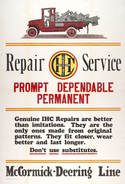 1924 International Harvester Repair Service Advertising Poster
