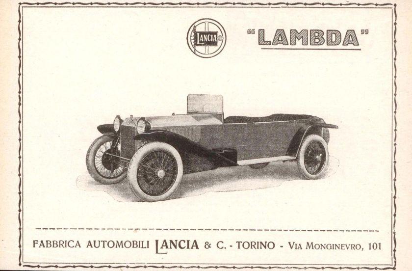 1924 Vecchia Pubblicità LANCIA LAMBDA Advertising Werbung 1924 Vintage z