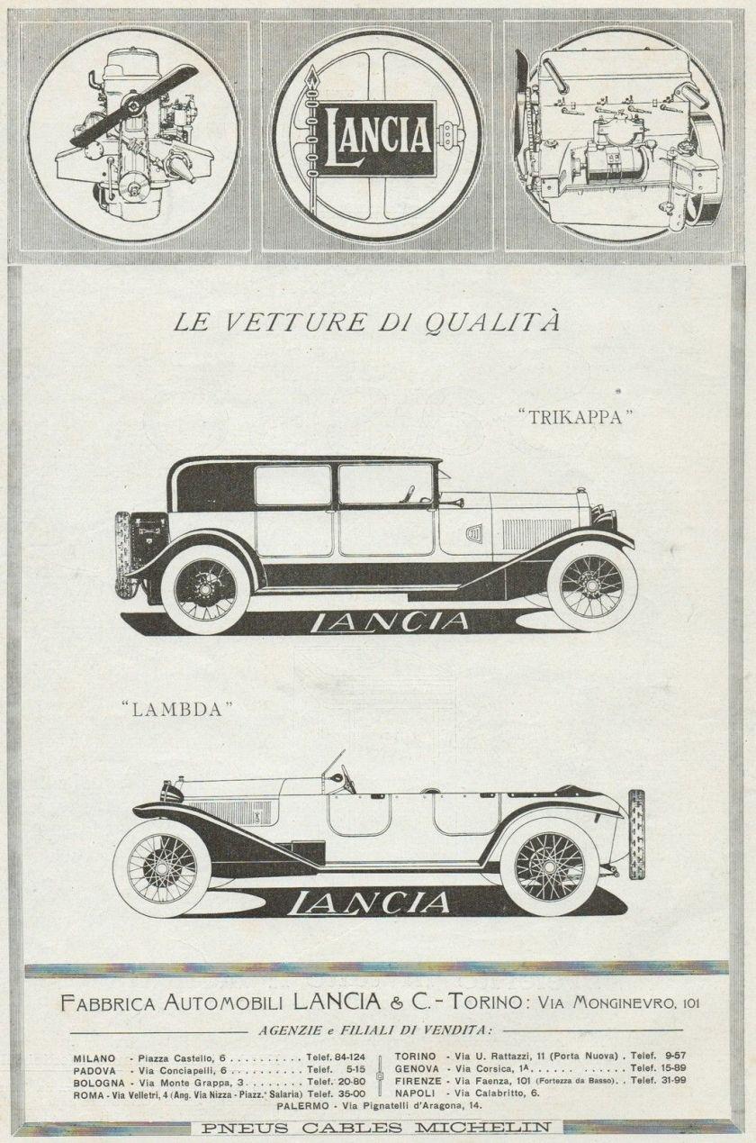 1924 Vetture LANCIA Trikappa & Lambda - Pubblicità grande formato - 1924 Old ad