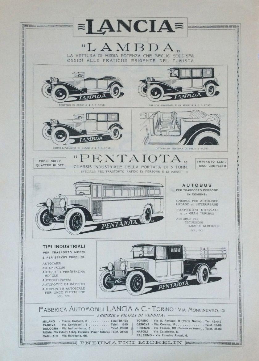 1925 LANCIA LAMBDA 1925 pubblicità originale-original adv (H.159)