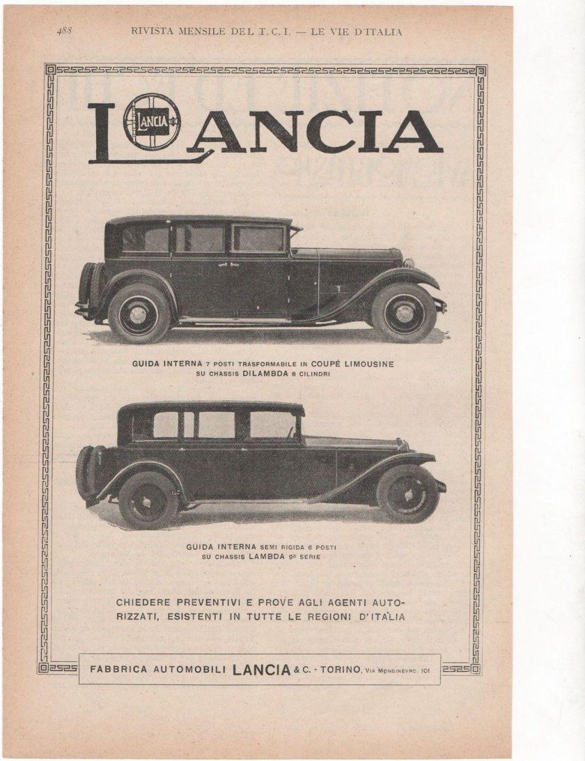 1925 LANCIA LAMBDA CAR DILAMBDA advert werbung publicitè reklame