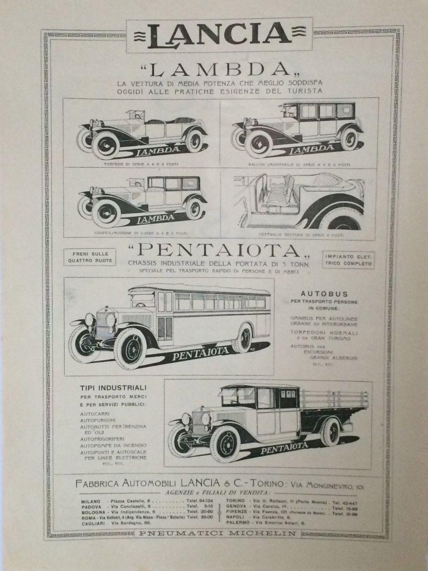 1925 LANCIA LAMBDA pubblicità originale del 27.12.1925 (H.15.36)