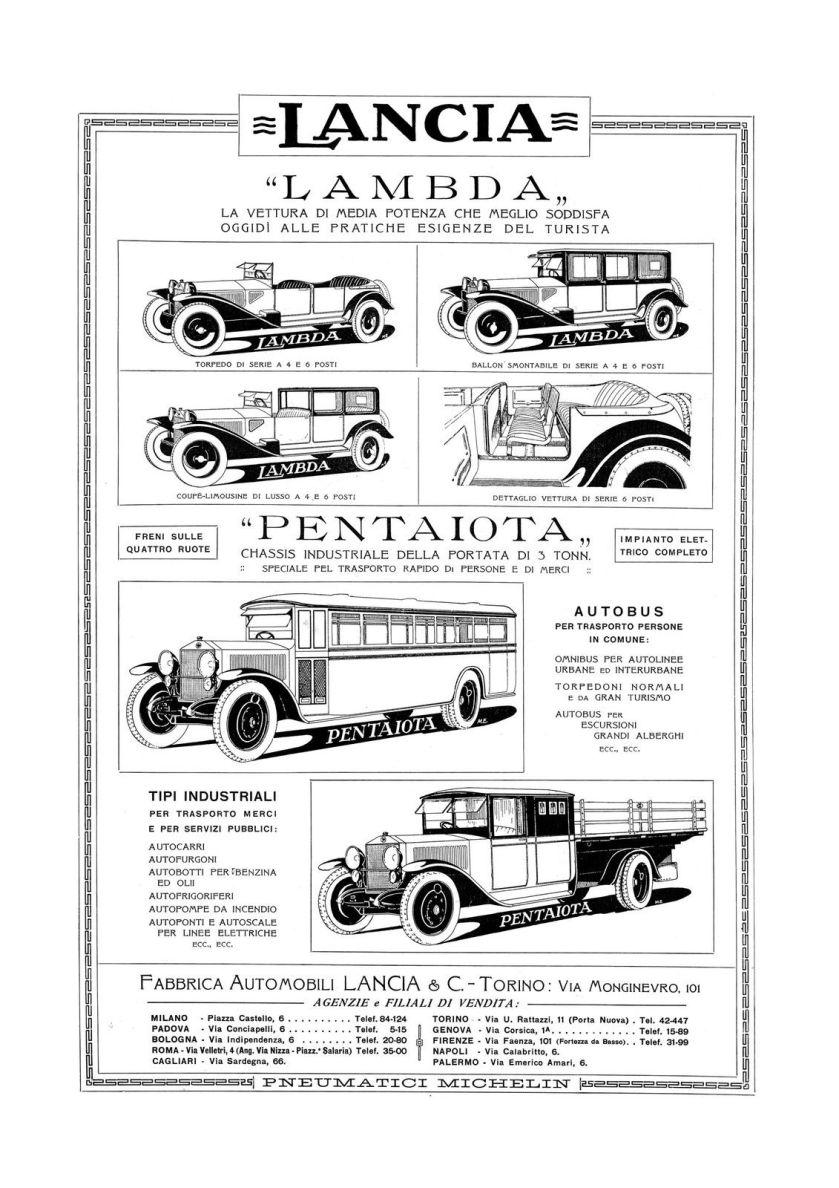 1925 poster LANCIA LAMBDA pubblicità del 1925 (H.73)