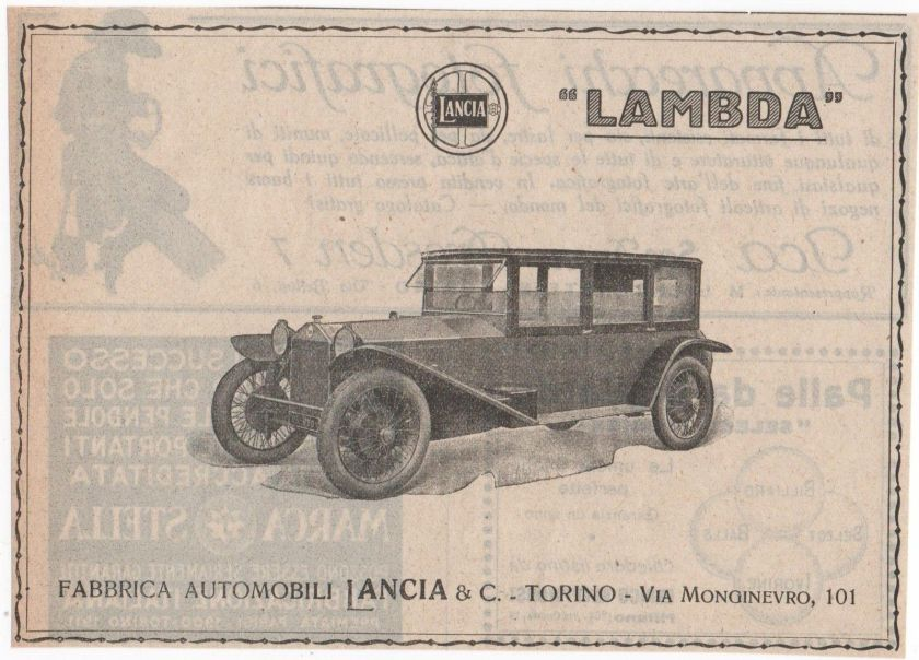 1925 Pubblicità epoca 1925 LANCIA LAMBDA AUTO CAR advert werbung publicitè reklame