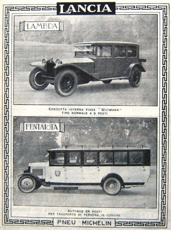1926 Auto LANCIA Lambda Weymann-AUTOBUS Pentajota-Anno 1926-Gomme Pirelli-ADVERTISING