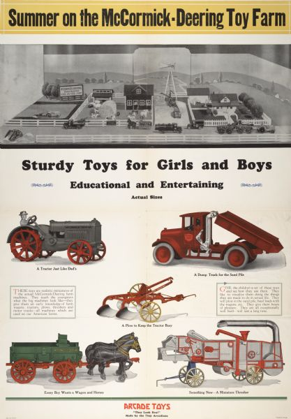 1927 International Harvester toys produced by Arcade Toys