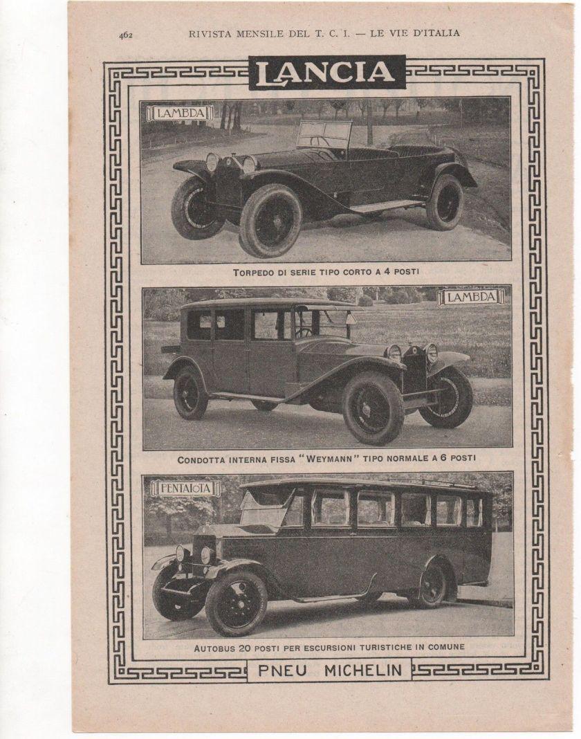 1927 LANCIA AUTO LAMBDA PENTAJOTA advert werbung publicitè reklame