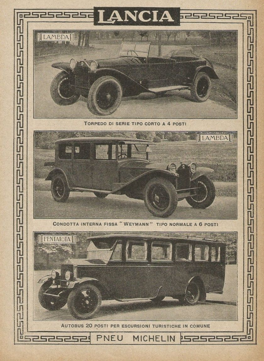 1927 LANCIA - Pentaiota - Lambda - Pubblicità 1927 - Advertising