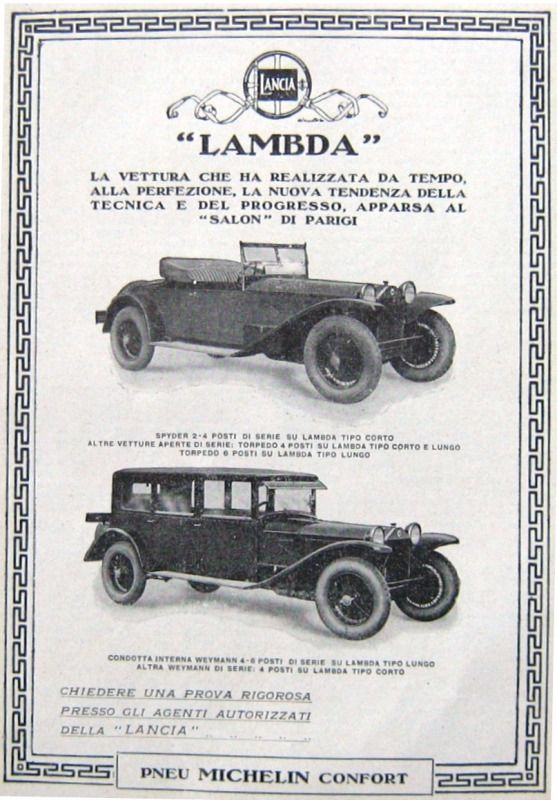 1927 Salon Parigi-Auto LANCIA LAMBDA SPYDER- Tipo lungo-MICHELIN-ADVERTISING