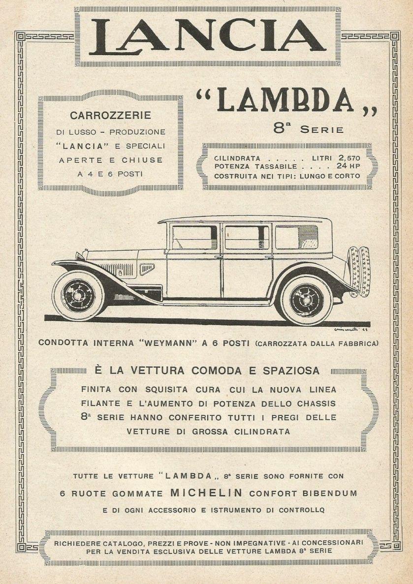 1928 Autovettura Lancia Lambda - Illustrazione - Pubblicità 1928 - Advertising