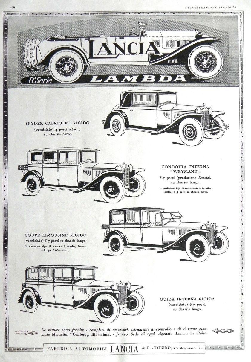 1928 grande formato LANCIA LAMBDA + OROLOGI ERMETO Advert
