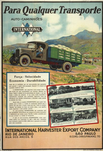 1928 International Trucks Advertising Poster (Brazil)
