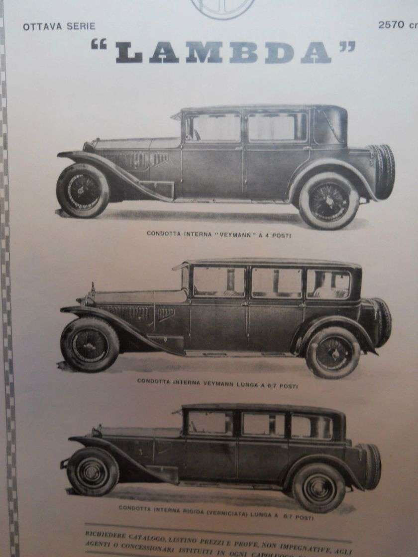 1929 Advertising pubblicità originale 1929 LANCIA lambda