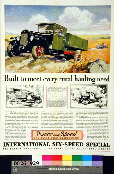 1929 International Six-Speed Special Truck Advertising Poster