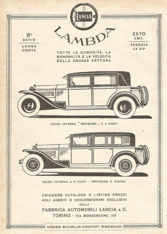 1929 Vetture LANCIA LAMBDA - Pubblicità del 1929 - Old advertising