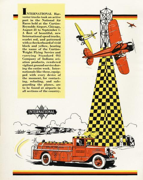 1930 Advertisement for International fire-rescue trucks featuring the National Air Races held at Curtiss-Reynolds Airport in Chicago