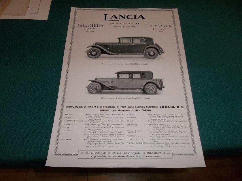 1930 AUTO LANCIA DILAMBDA LAMBDA 8 CILINDRI 4 CIL. BERLINA