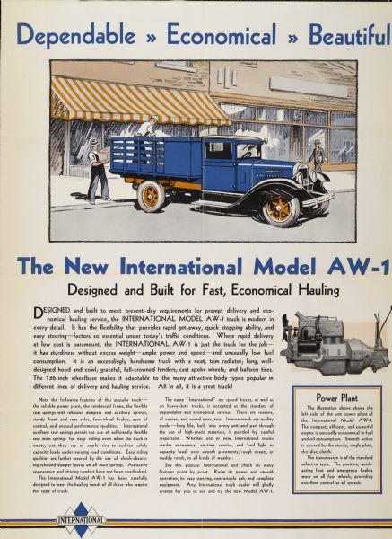 1930 International Model AW-1 Truck Advertising Poster