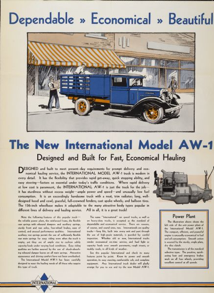 1930 International Model AW-1 Truck Advertising Poster