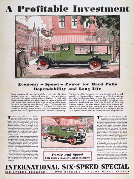 1930 International Six-Speed Special Truck Advertising Poster