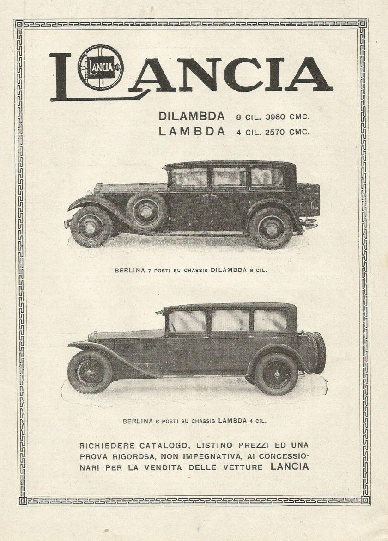 1930 LANCIA - Automobili Lambda & Dilambda - Pubblicità 1930 - Advertising