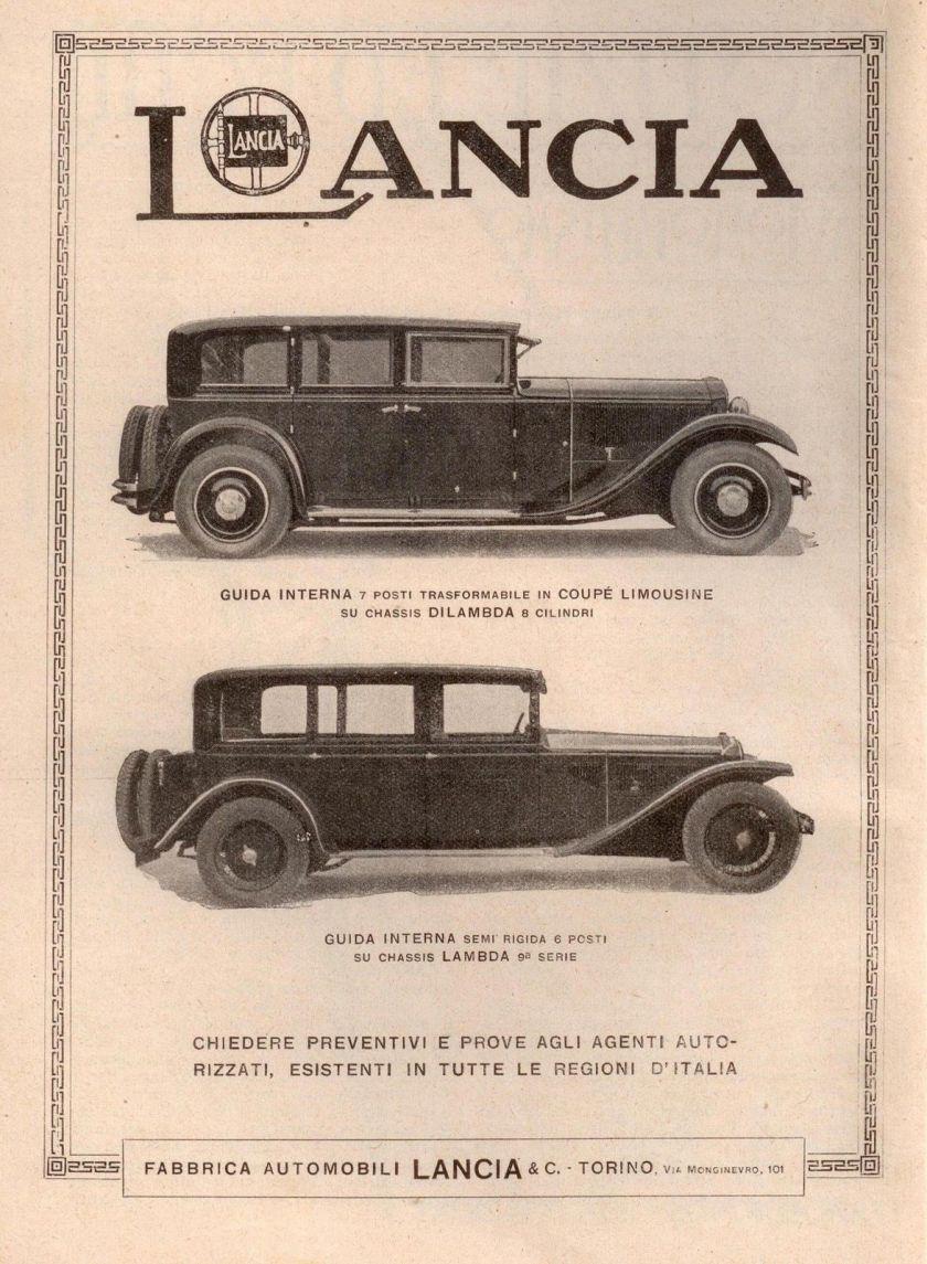 1930 LANCIA LAMBDA DILAMBDA advertising reklame werbung