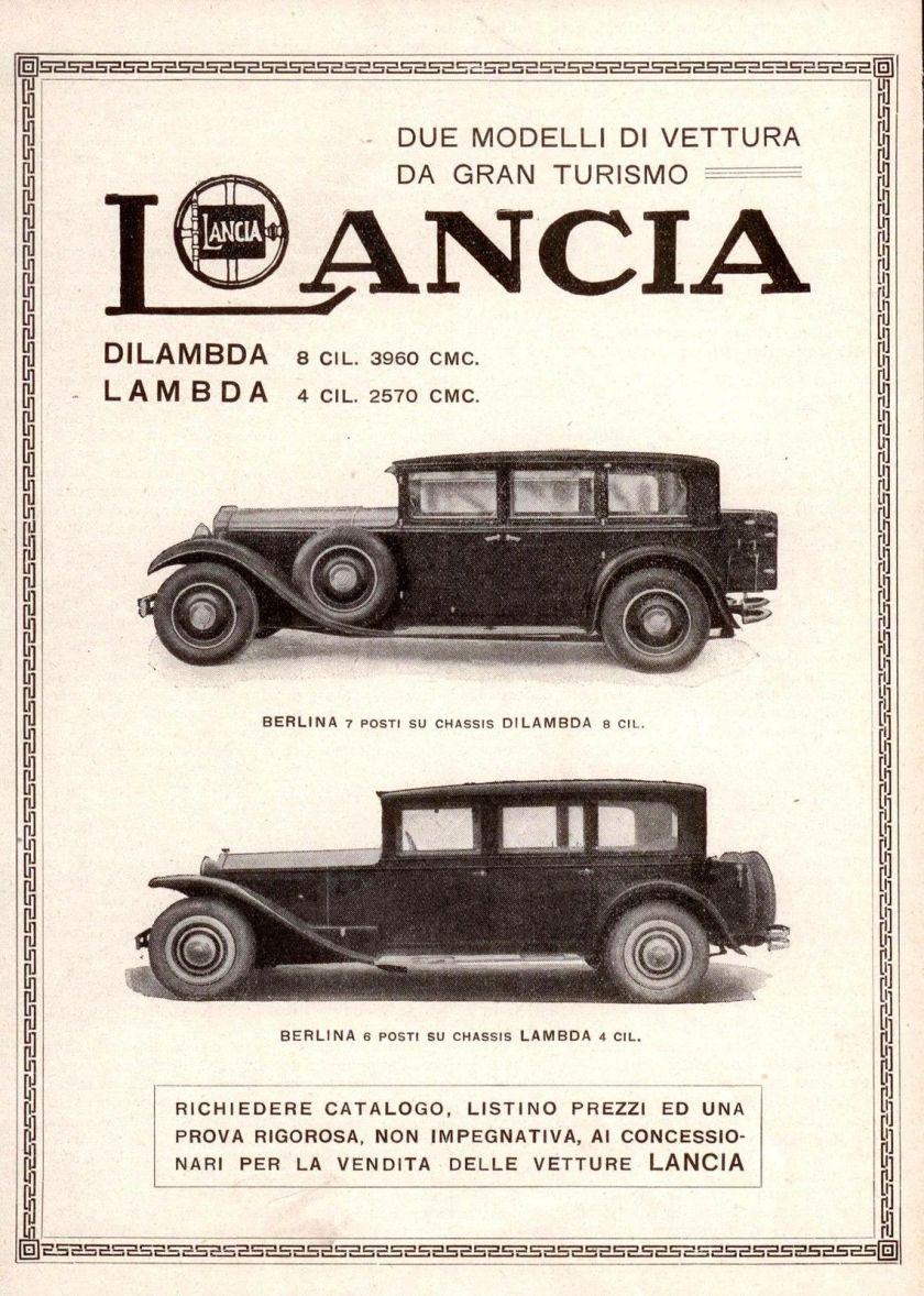 1930 Pubblicità LANCIA LAMBDA DILAMBDA Automobile Advert Werbung Publicité 1930 OLD