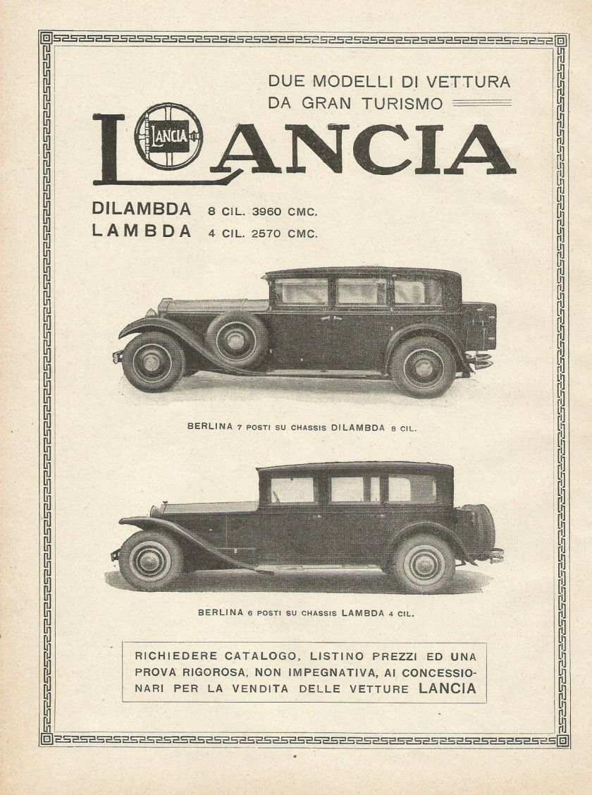1930 Y1183 LANCIA Lambda & Dilambda - Pubblicità 1930 - Advertising