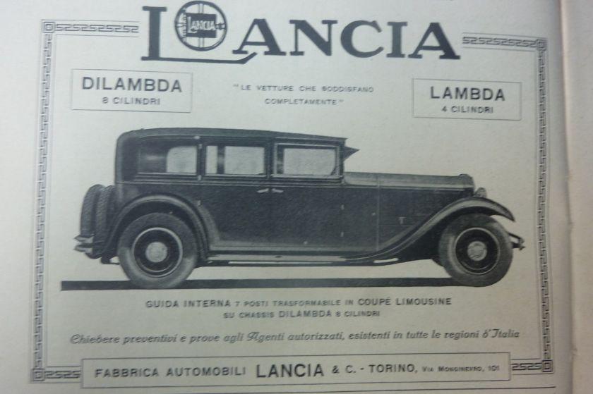 1931 advertising pubblicita' LANCIA DILAMBDA LAMBDA 1931