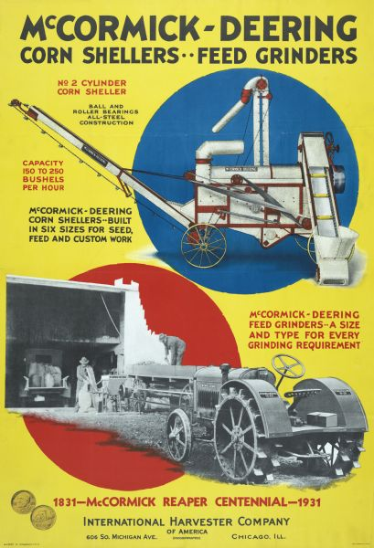 1931 McCormick-Deering Corn Sheller and Feed Grinder Poster