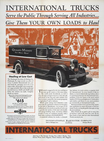 1932 International A-2 Truck Advertisement