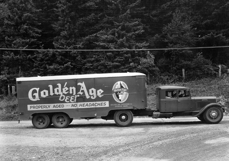 1932 International tractor with sleeper hauling for Golden Age Beer