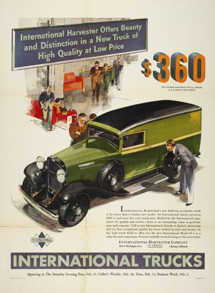 1933 International D-1 Trucks Advertising Poster