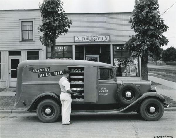 1935 International C-1 truck owned by Elsner's Blue Ribbon Bakery